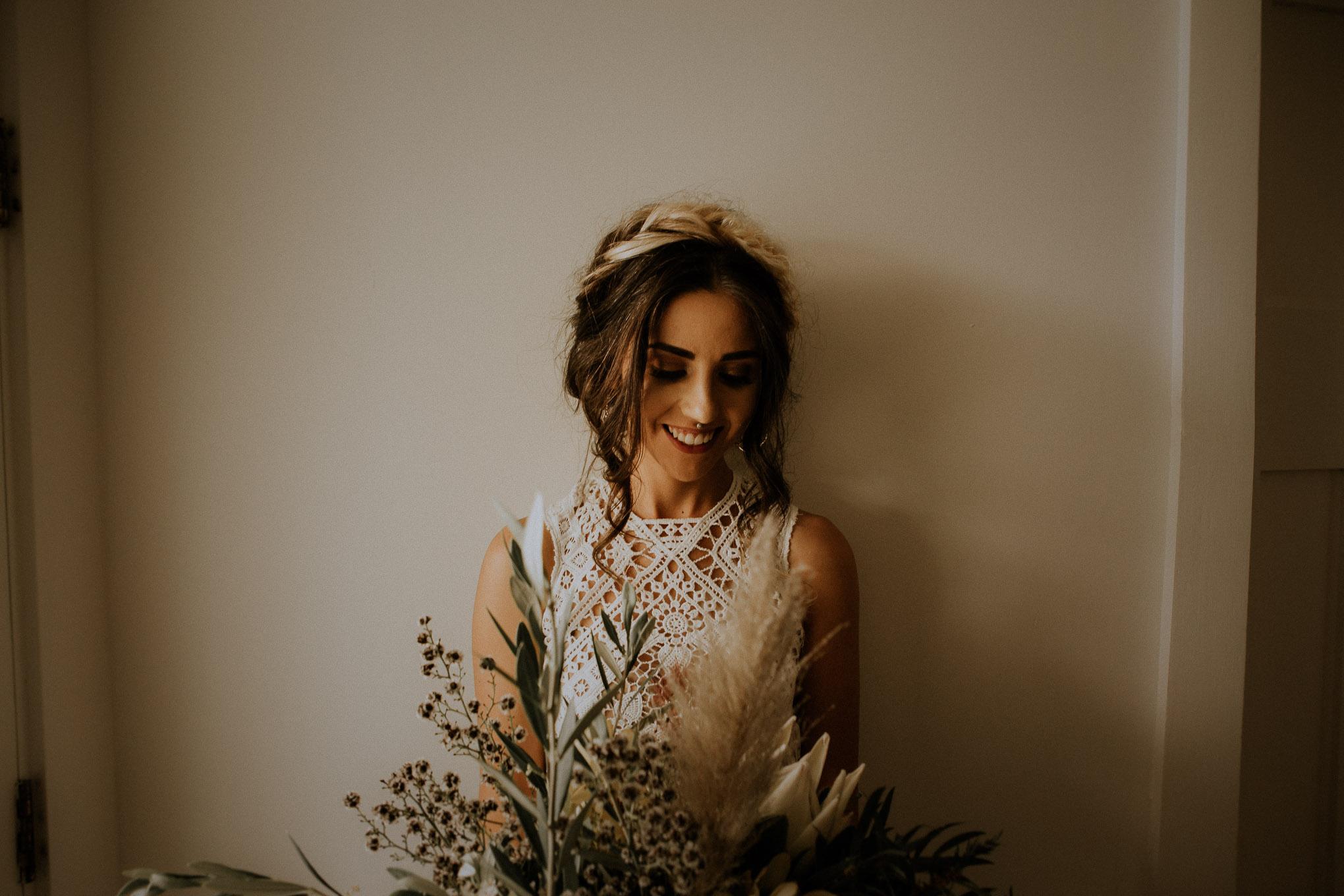 Bridal portraits in the bridal suite at Waldara Farm Wedding Venue, Blue Mountains near Oberon