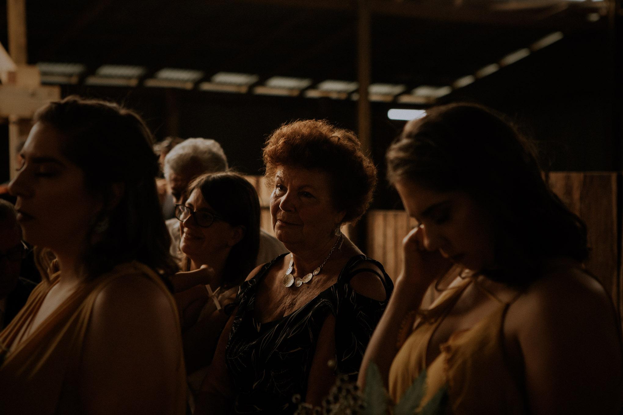 Emotional reaction from grandma during wedding ceremony at Waldara Farm