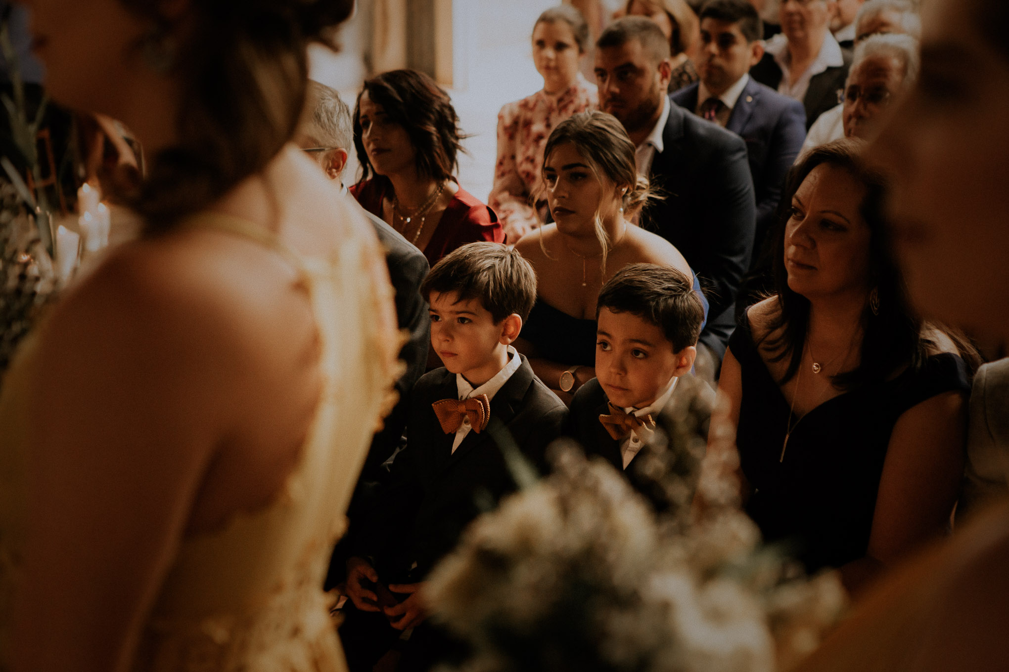 Emotional reactions during rustic wedding ceremony