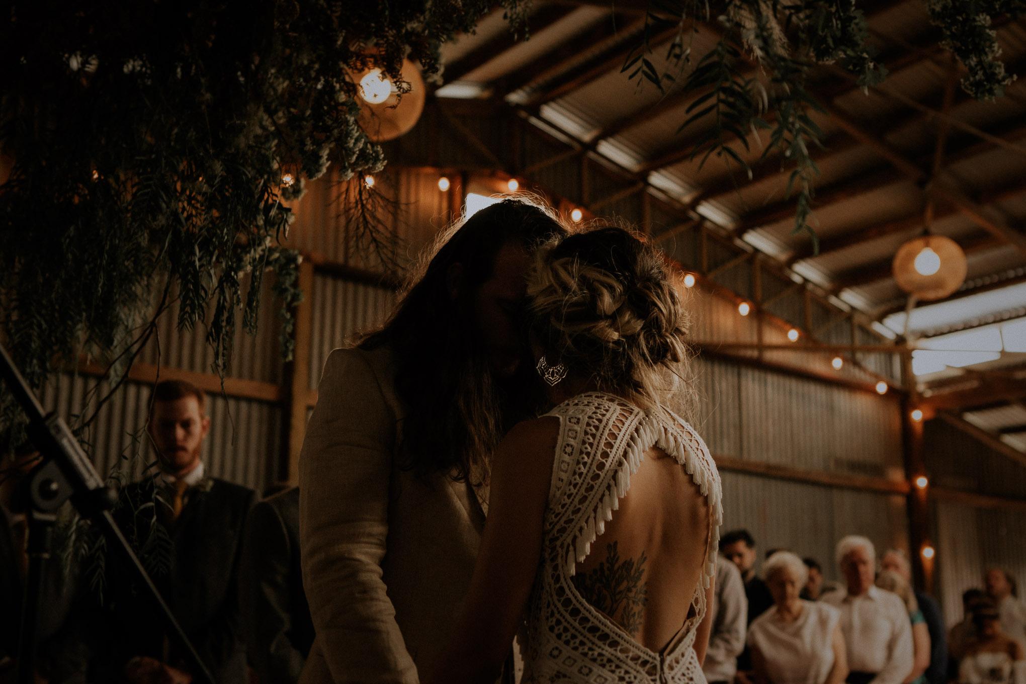Quiet moments during heartfelt wedding ceremony