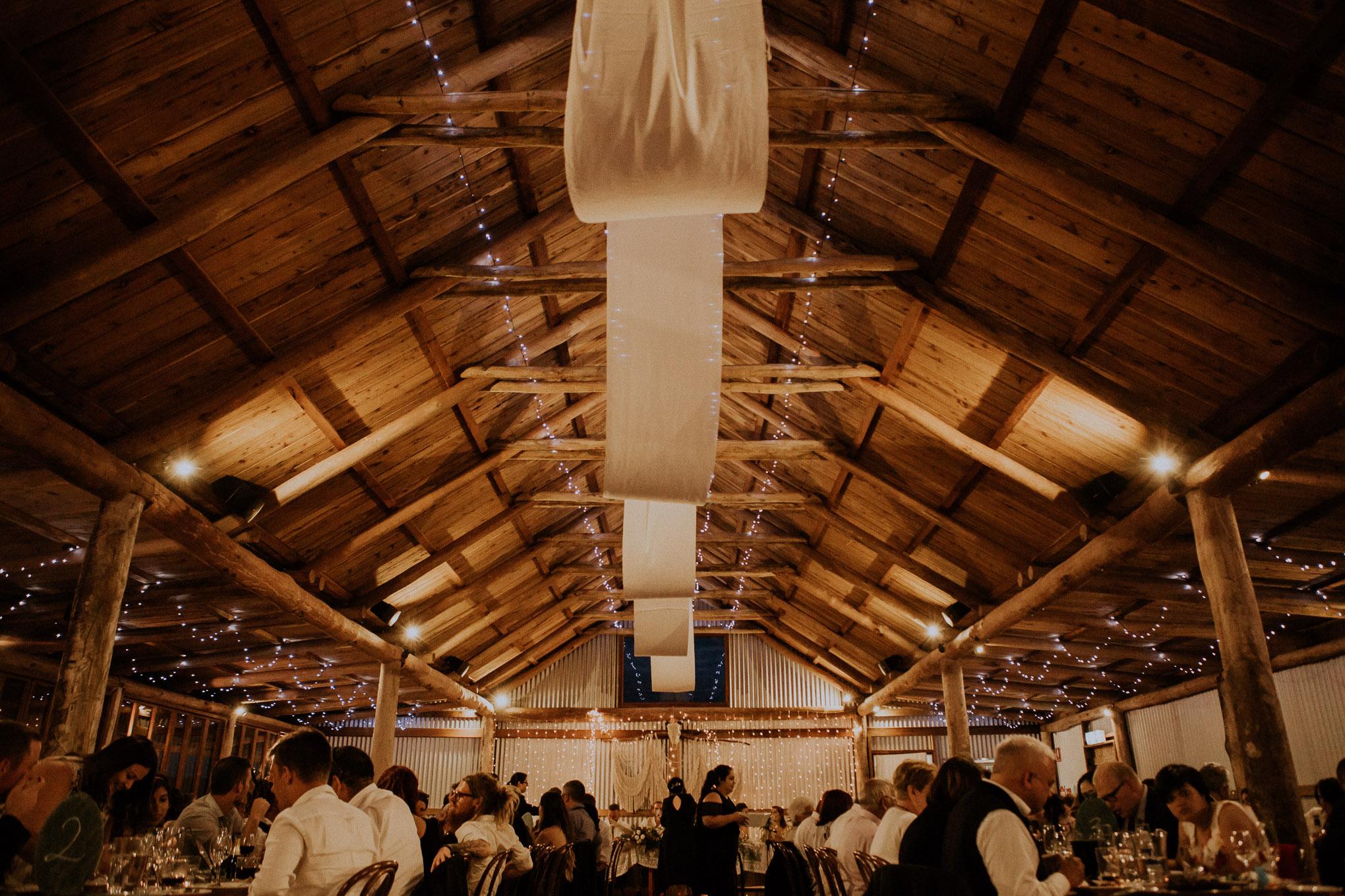 An evening wedding reception at Waldara Farm