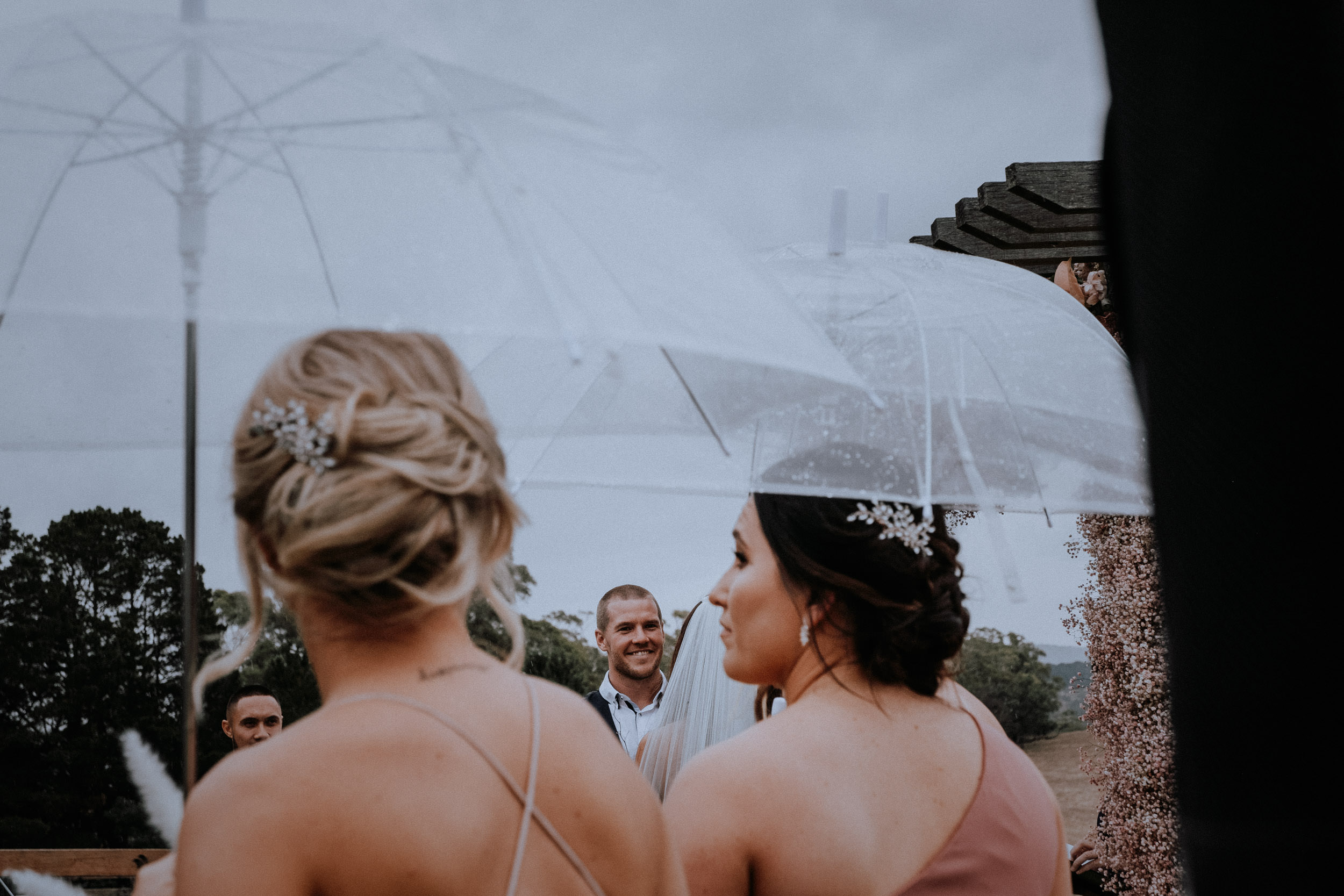 Rainy outdoor wedding at Seclusions Blue Mountains near Lake Lyell Lithgow