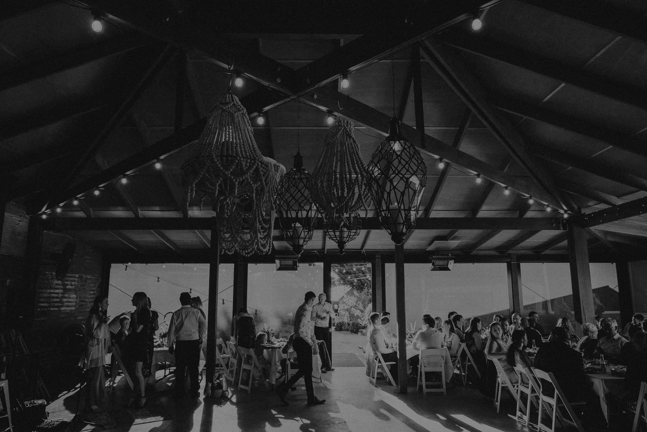 Guests at wedding reception inside the Pavilion at Seclusions