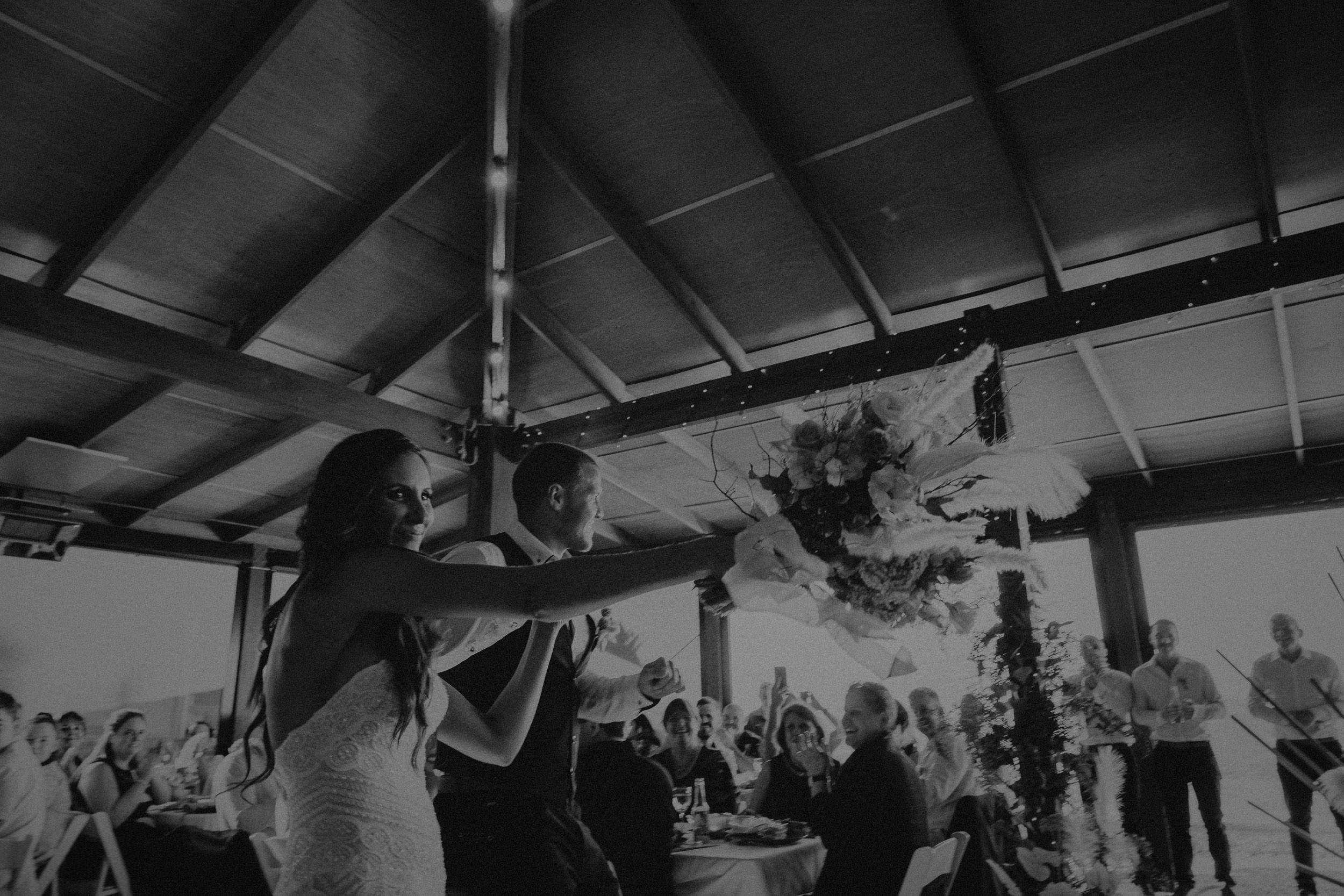 Bride and Groom enters the wedding reception in the Pavilion at Seclusions Blue Mountains