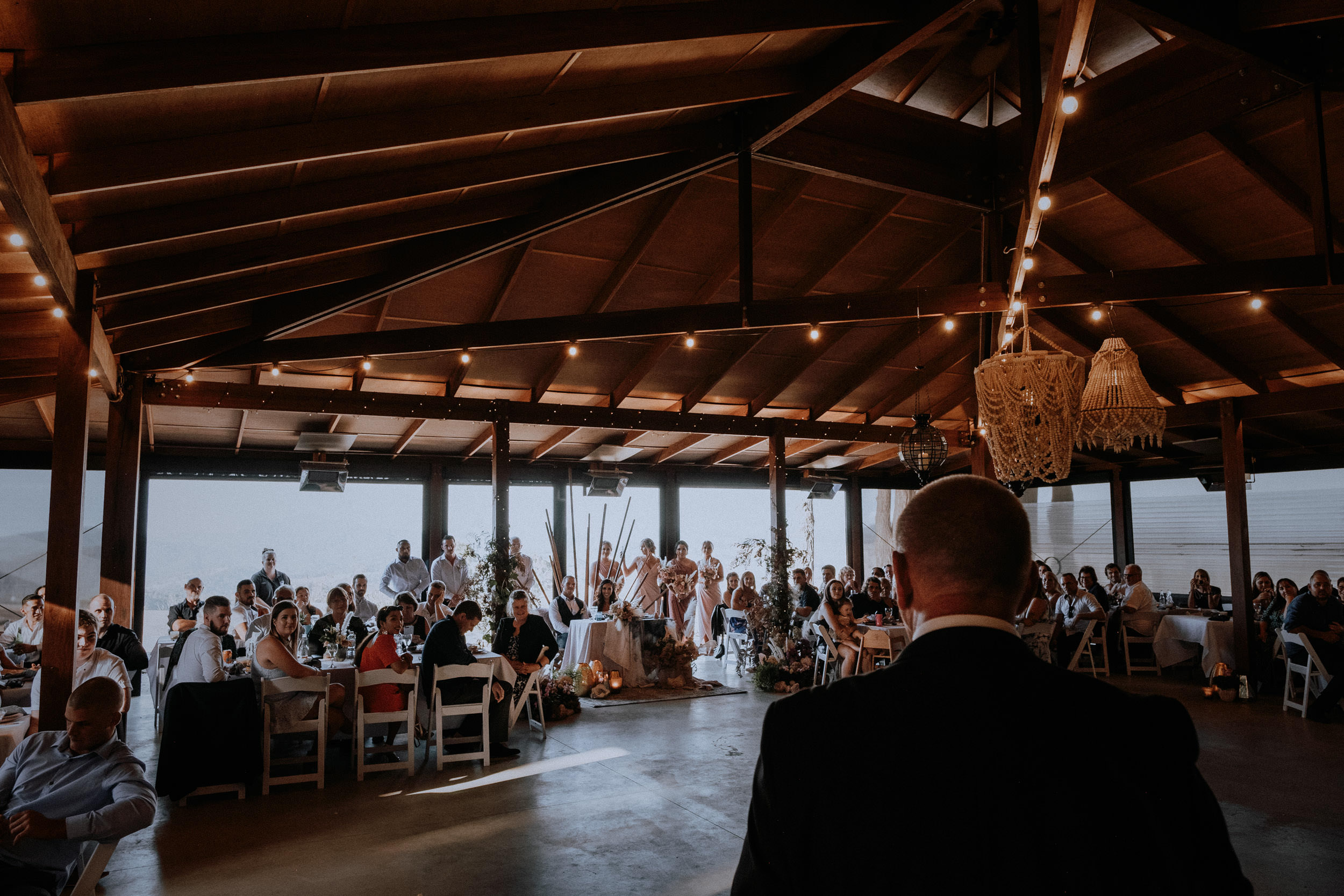 Father of the bride's speech at wedding reception in the Pavilion at Seclusions Blue Mountains