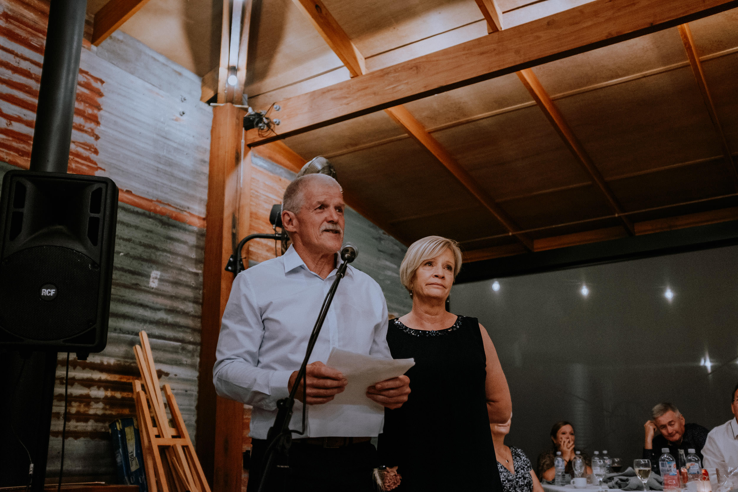 Parents of the groom speeches at wedding reception inside the Pavilion at Seclusions Blue Mountains