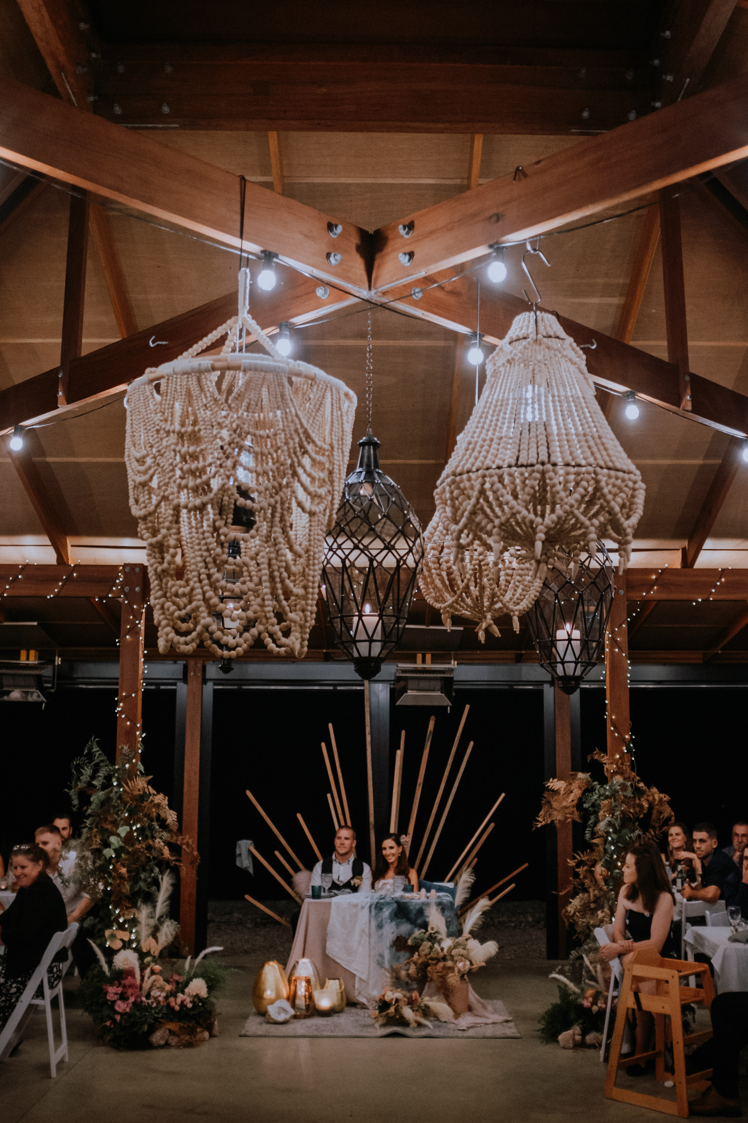 Wedding reception in the Pavilion at Seclusions Blue Mountains, styling by The Golden Dandelion