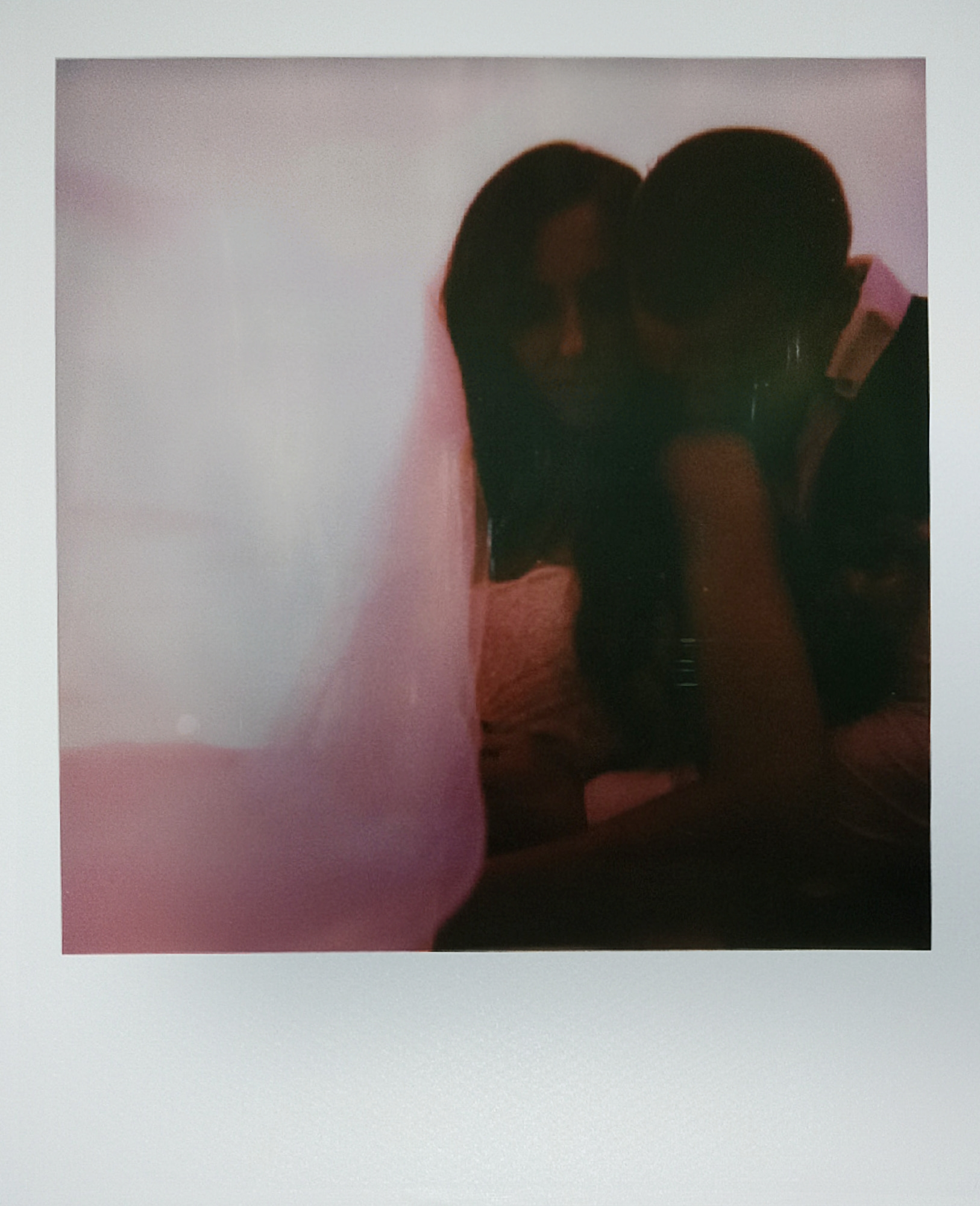Polaroid frames of bride and groom during sunset