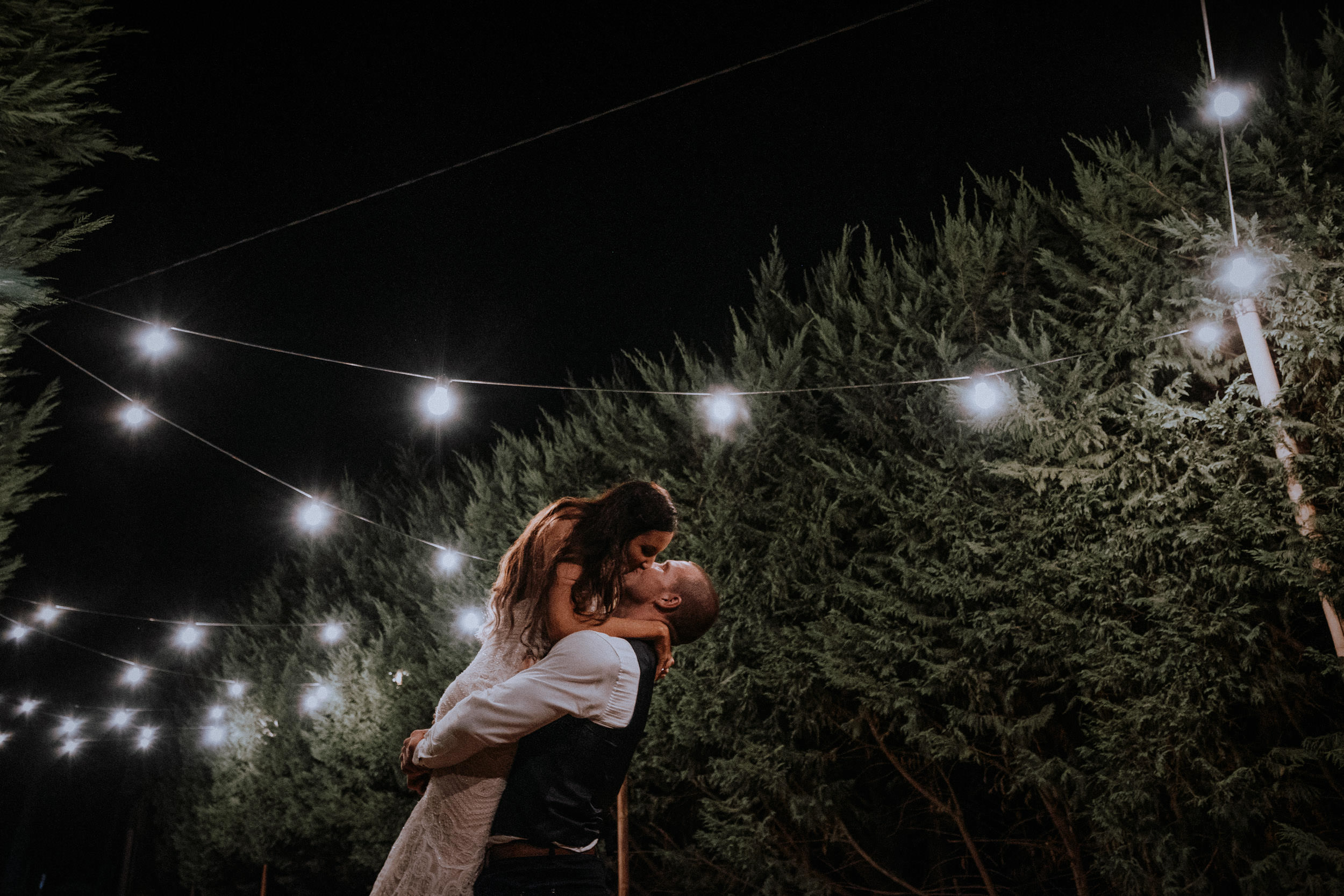 Night portraits with bride and groom under fairy lights at Seclusions Blue Mountains
