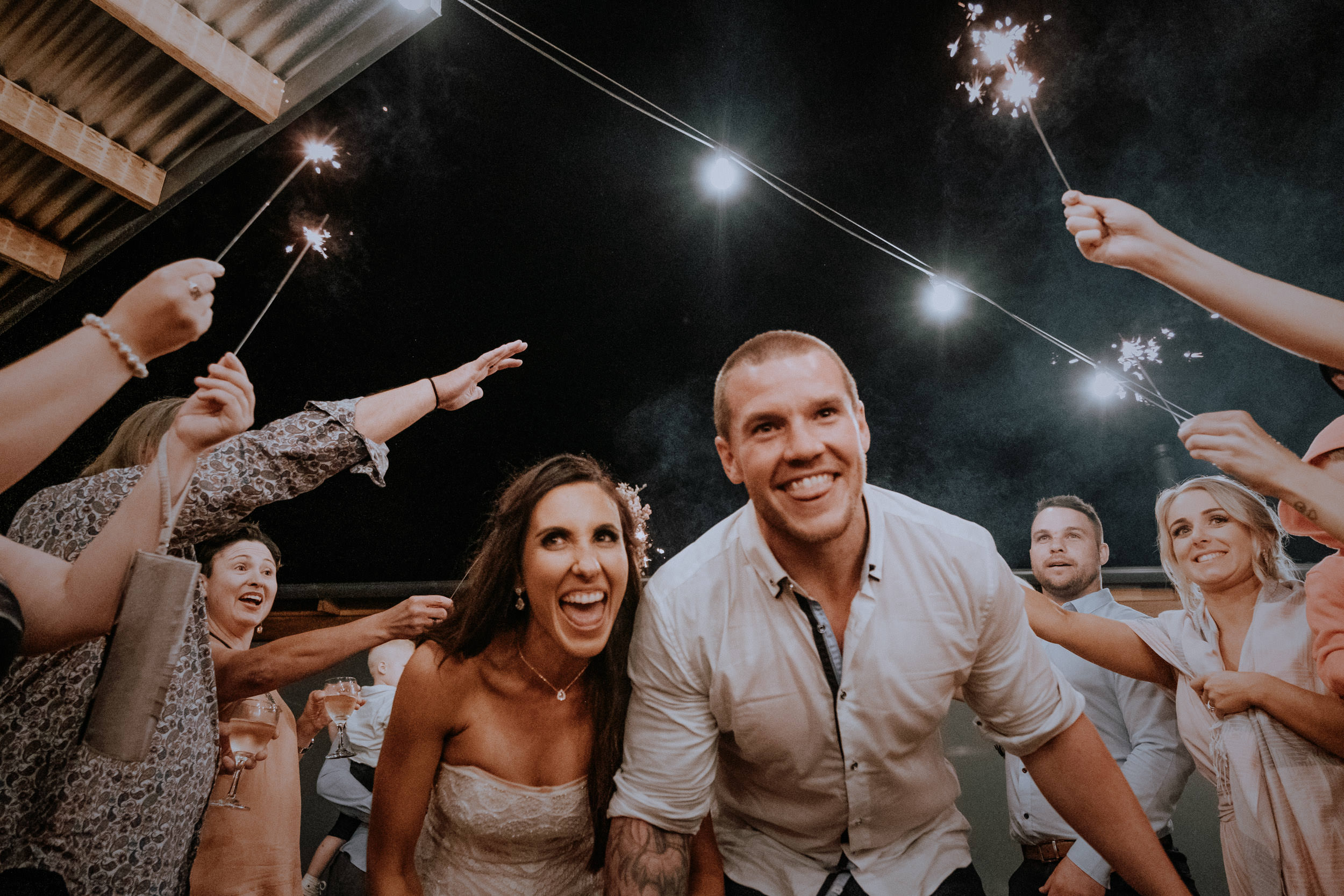 Sparkler send-off for bride and groom at Seclusions
