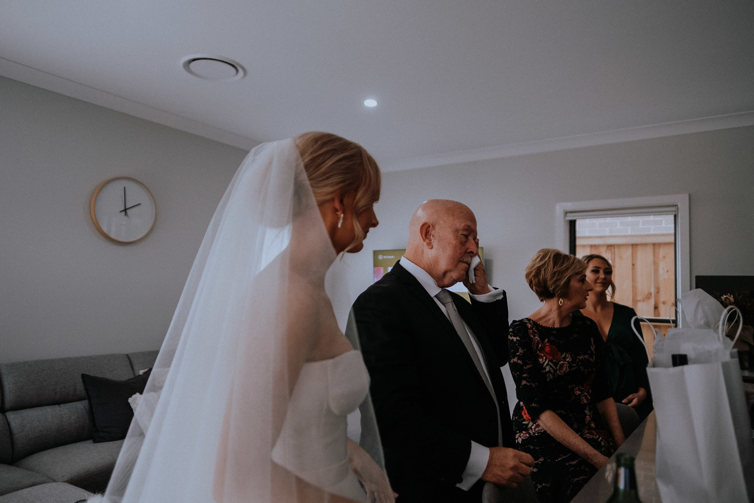 Bride's father sheds a tear on the morning of the emotional wedding