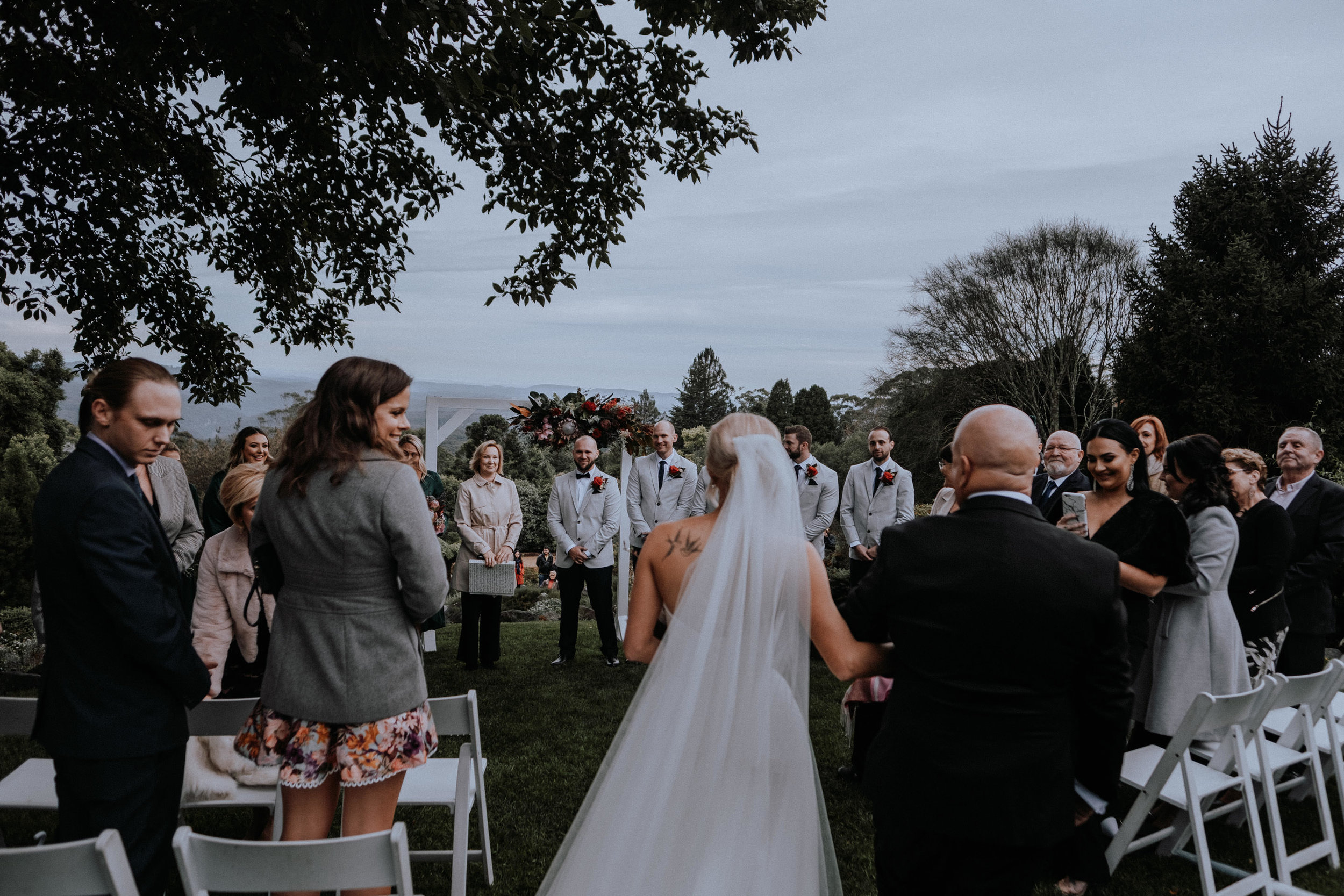 Tearful reactions to seeing the beautiful bride walking down the aisle at Mt Tomah Botanic Gardens