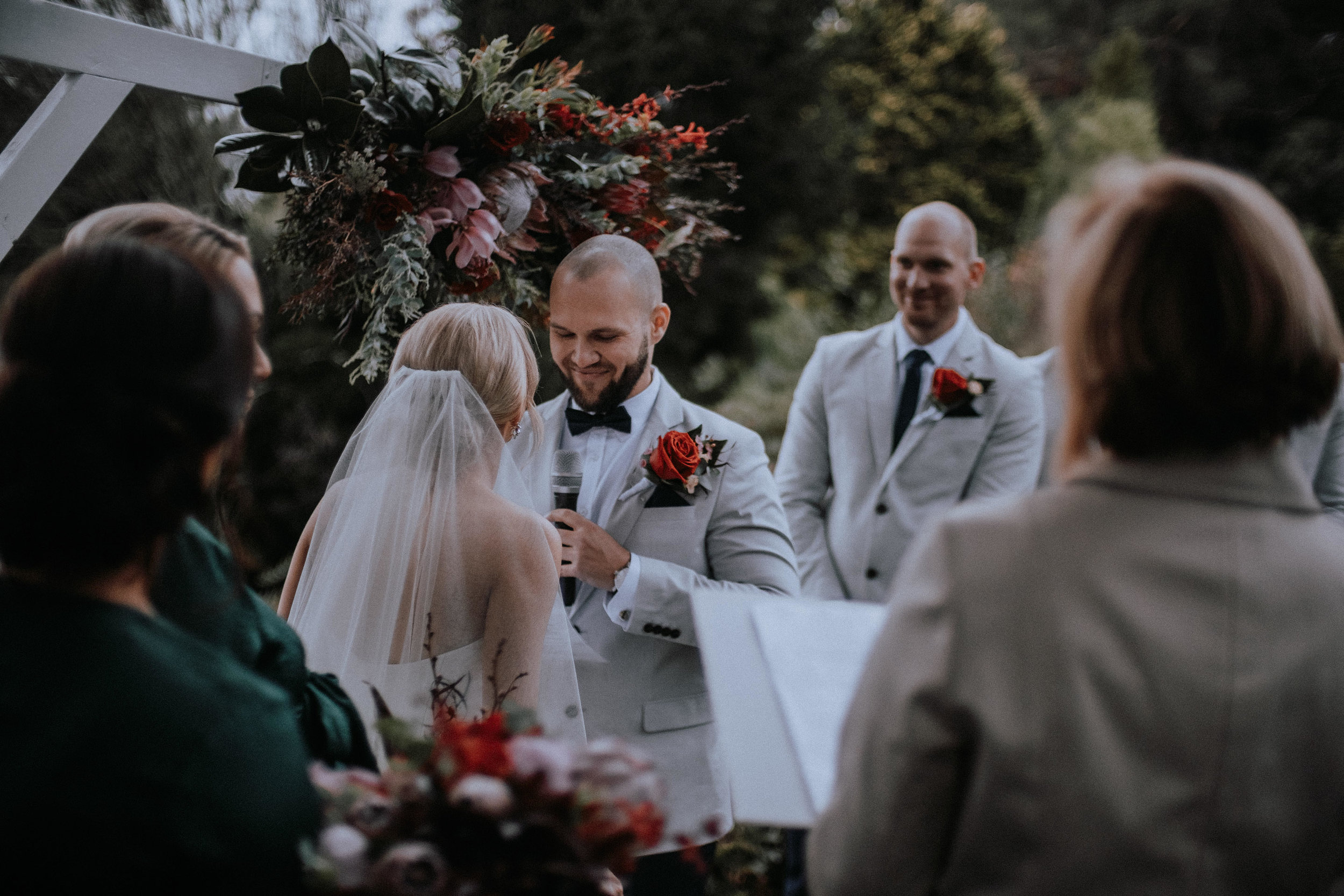 An outdoor winter wedding ceremony at Mt Tomah Botanic Gardens