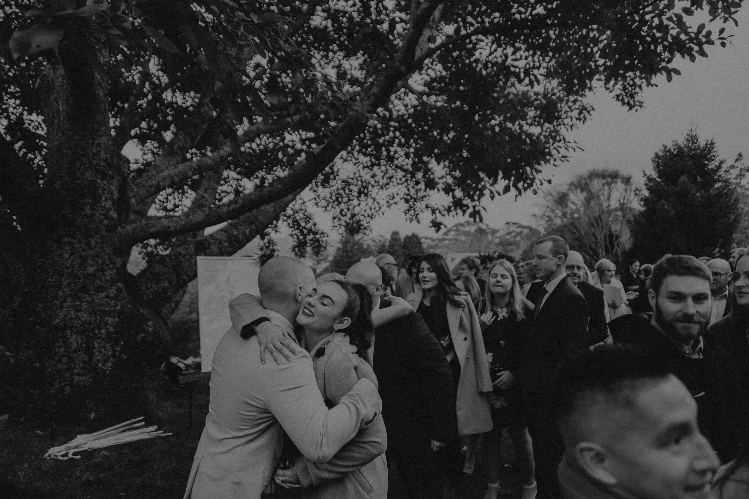 Tearful reactions at outdoor winter wedding ceremony at Mt Tomah Botanic Gardens