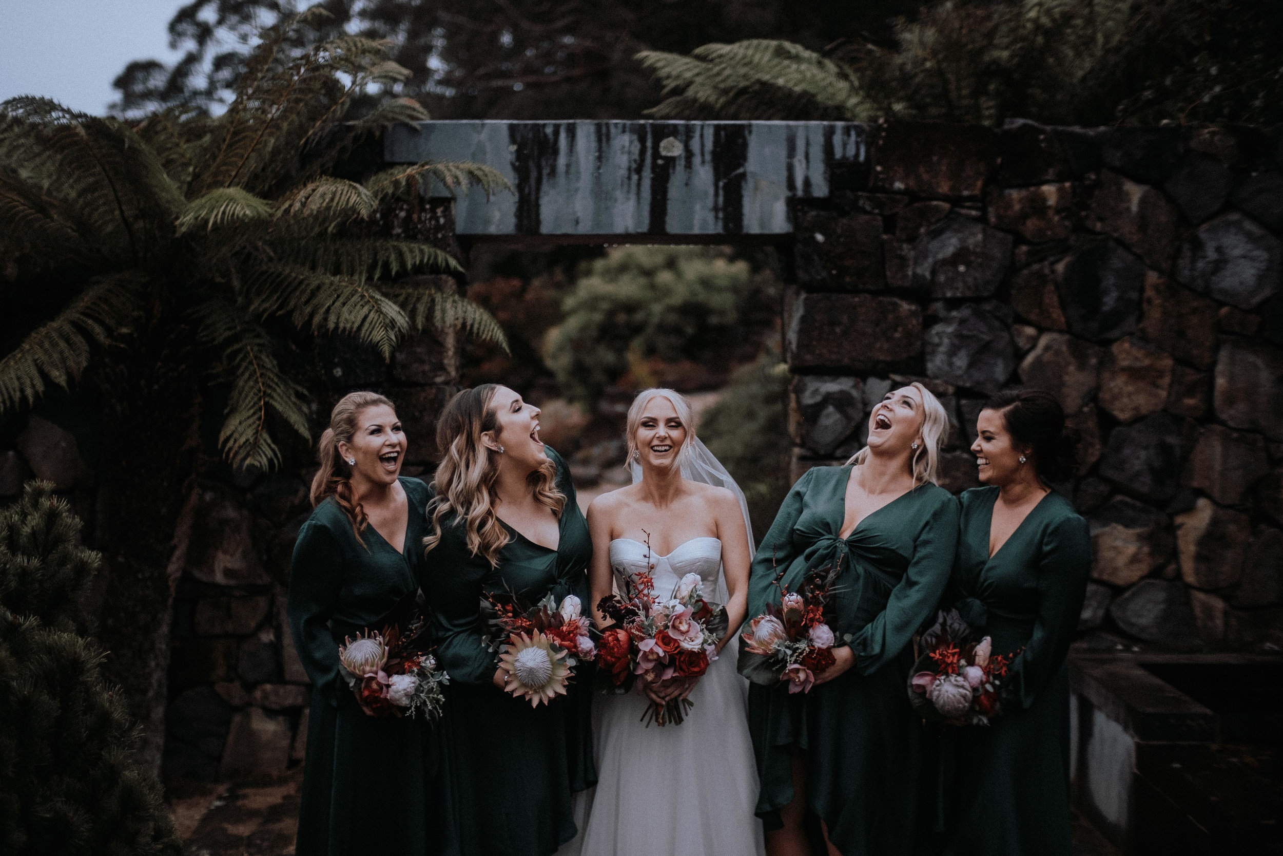 A bride and her bridesmaids at Mt Tomah Botanic Gardens