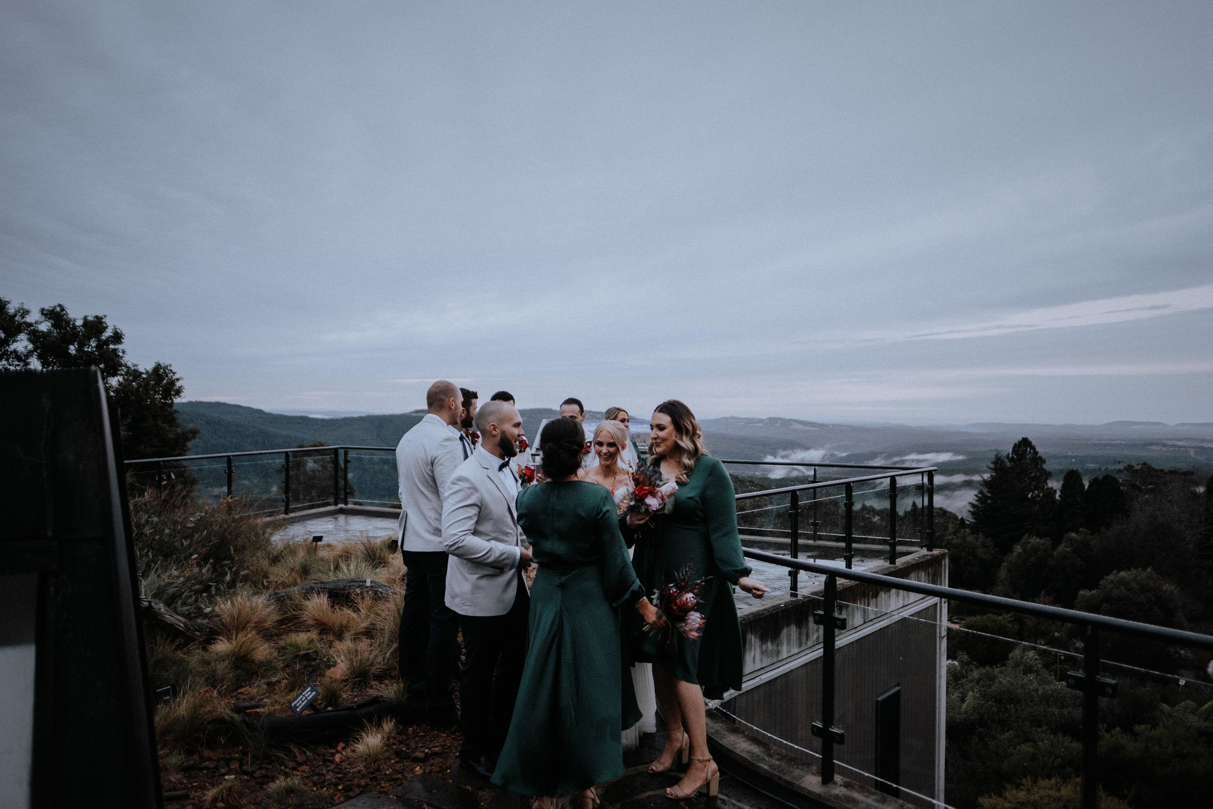 Wedding party at Mt Tomah Botanic Gardens with an epic view in the background