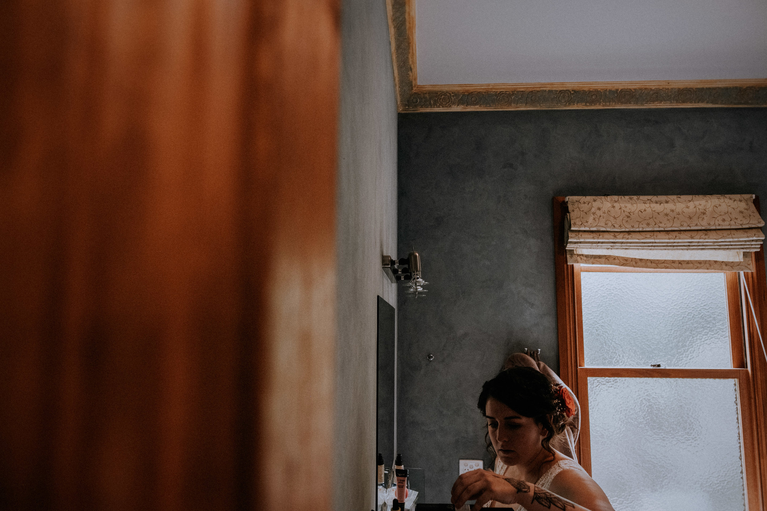 A bride getting ready for her Redwood Forest wedding in Warburton, near Melbourne