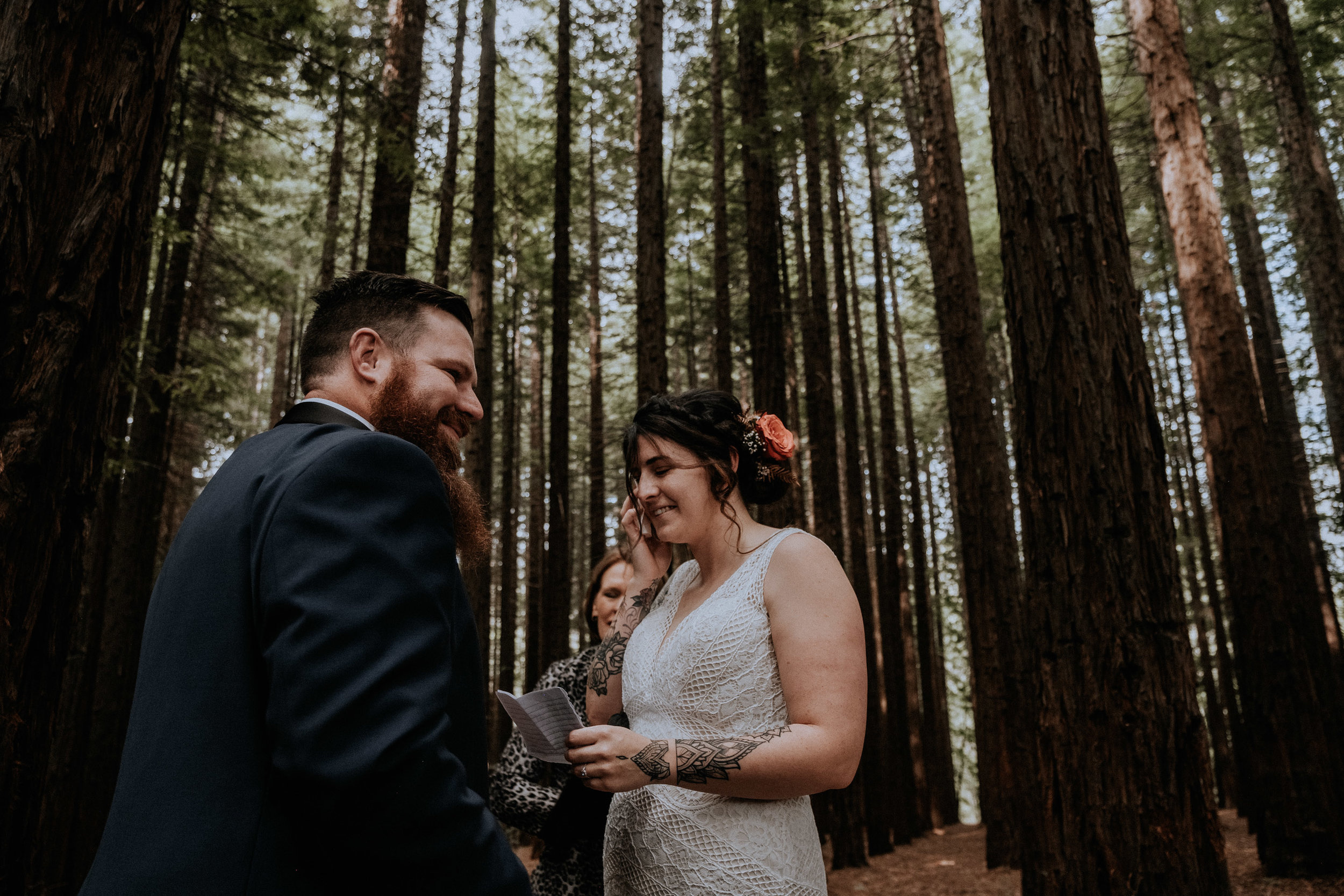 An emotional bride at her small wedding, candidly captured with intimate vibes, in the Redwood Forest in Warburton, near Melbourne