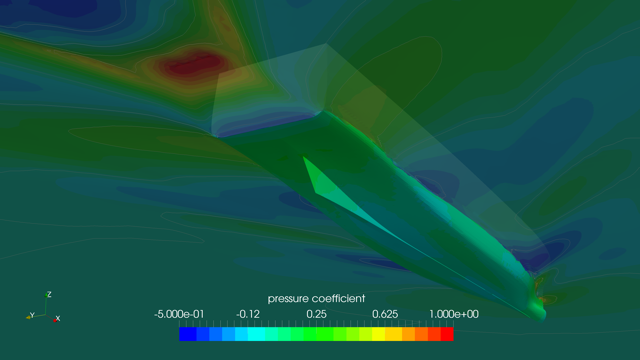 software image used to assess fluid dynamics on a superyacht hull