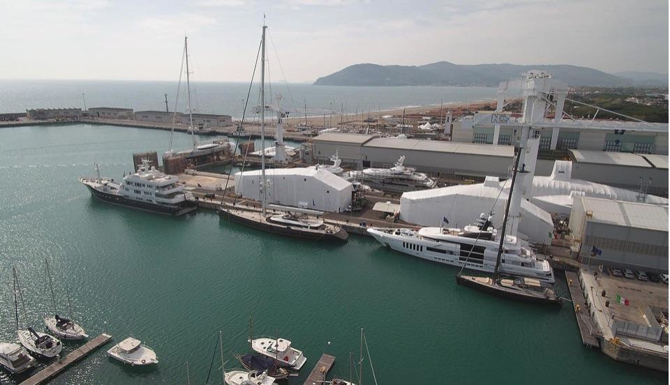 Superyachts in a Shipyard