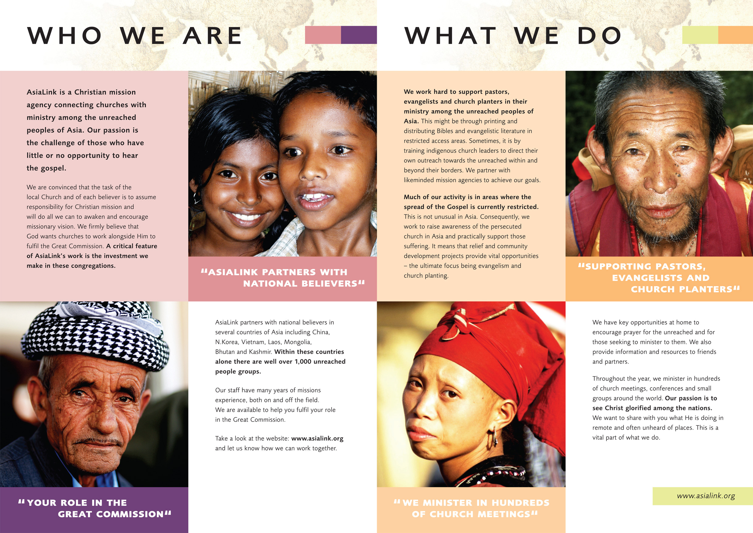 AsiaLink (non-profit charity) – Welcome Brochure  Work : Design, artwork, art-direction, amends, typography, retouching  Apps : InDesign, Photoshop, Illustrator