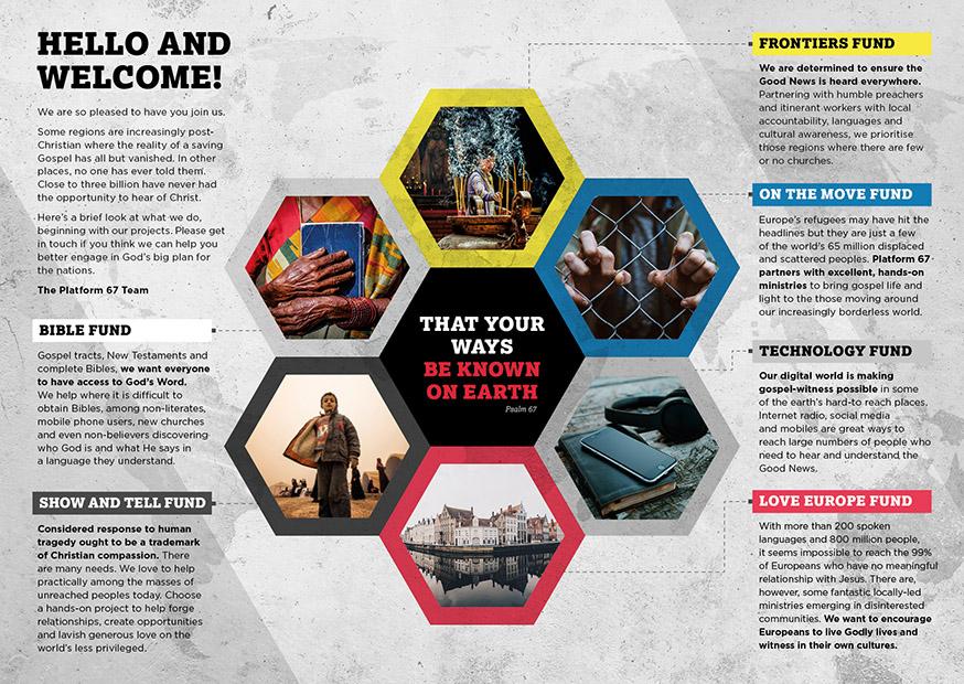 Client : Platform 67 (non-profit charity) – Project leaflet  Work : Design, artwork, art-direction, amends, typography, retouching  Apps : InDesign, Photoshop, Illustrator