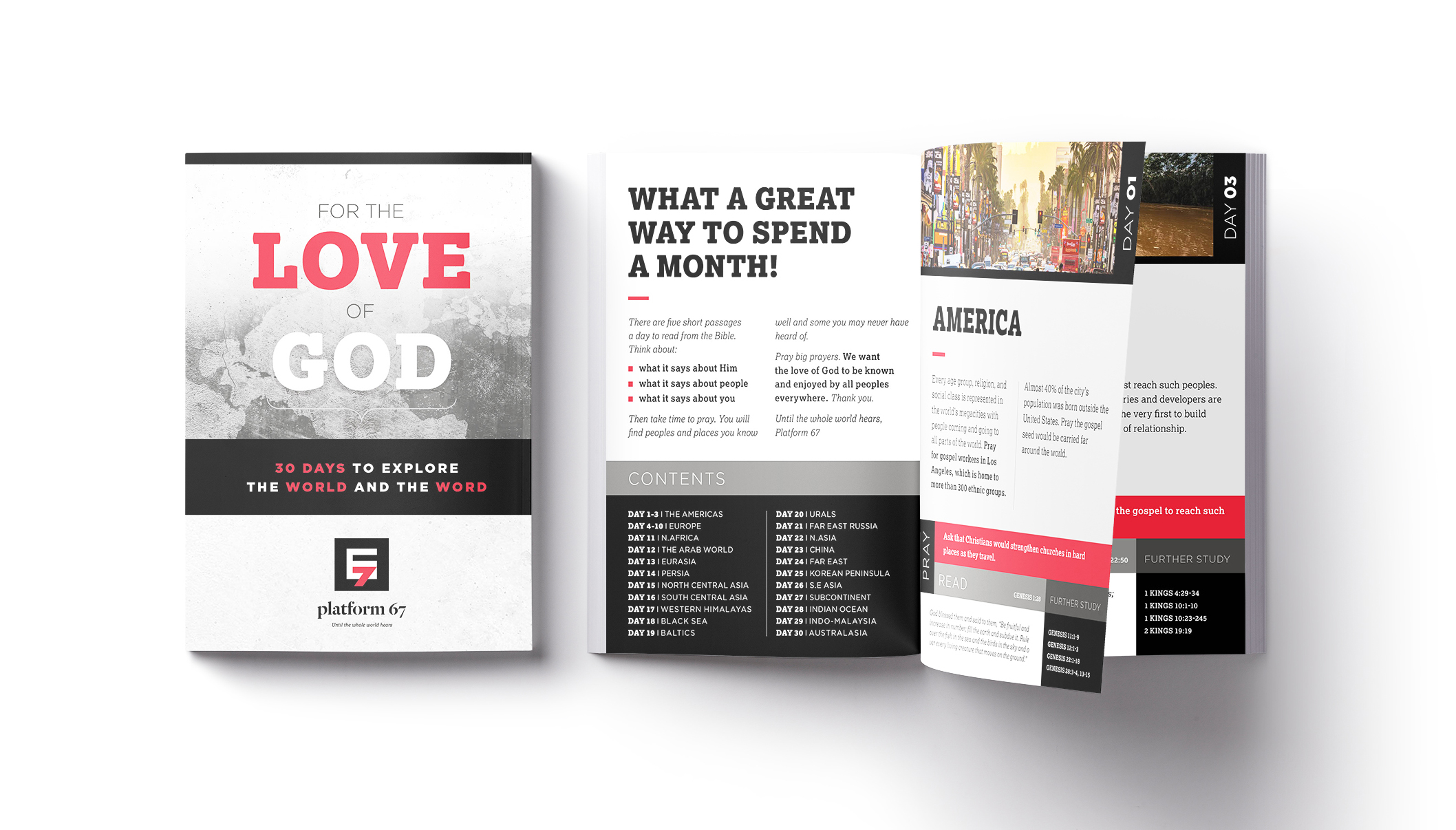 Client : Platform 67 (non-profit charity) – 30 day booklet  Work : Design, artwork, art-direction, amends, typography, retouching  Apps : InDesign, Photoshop, Illustrator