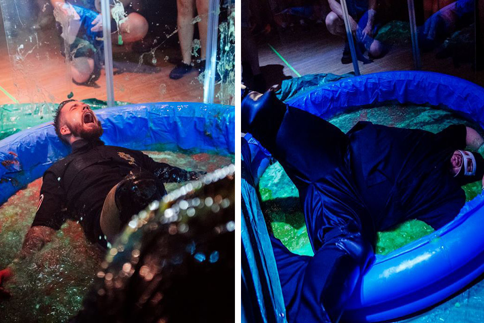 The Anti Fun Police suffer a gunging at the hands of Dave Benson Phillips (Photos: The Head Drop)