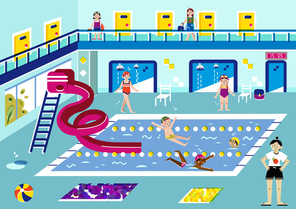 A day at the swimming pool - Vector Illustration © Emeline Barrea, All rights reserved