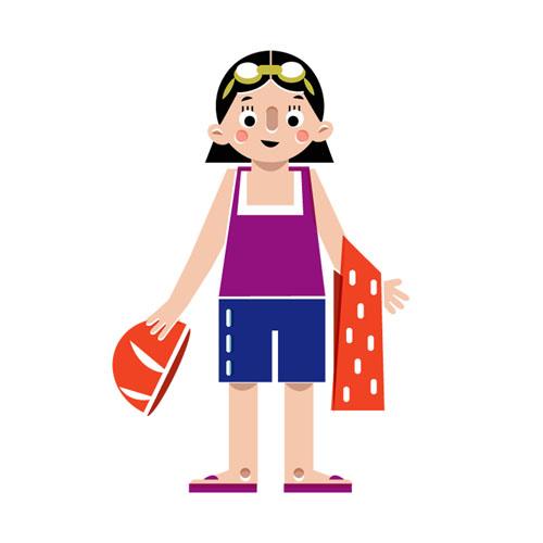 Swimmer (Character Design - Vector Illustration © Emeline Barrea, All rights reserved
