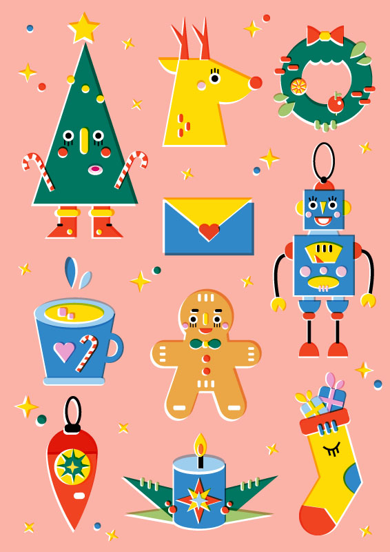 Christmas stickers - Vector Illustration © Emeline Barrea, All rights reserved