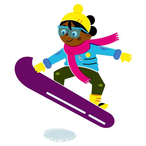 Snowboarding girl - Vector Illustration © Emeline Barrea, All rights reserved