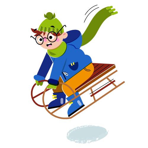 Sledding - Vector Illustration © Emeline Barrea, All rights reserved