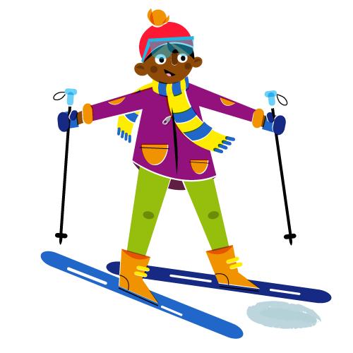 Skiing boy - Vector Illustration © Emeline Barrea, All rights reserved