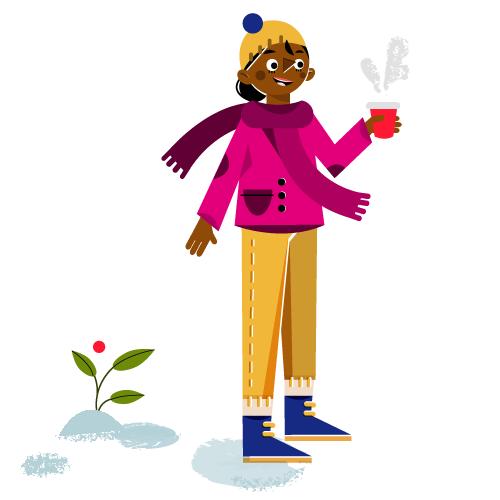 Hot chocolate break - Vector Illustration © Emeline Barrea, All rights reserved