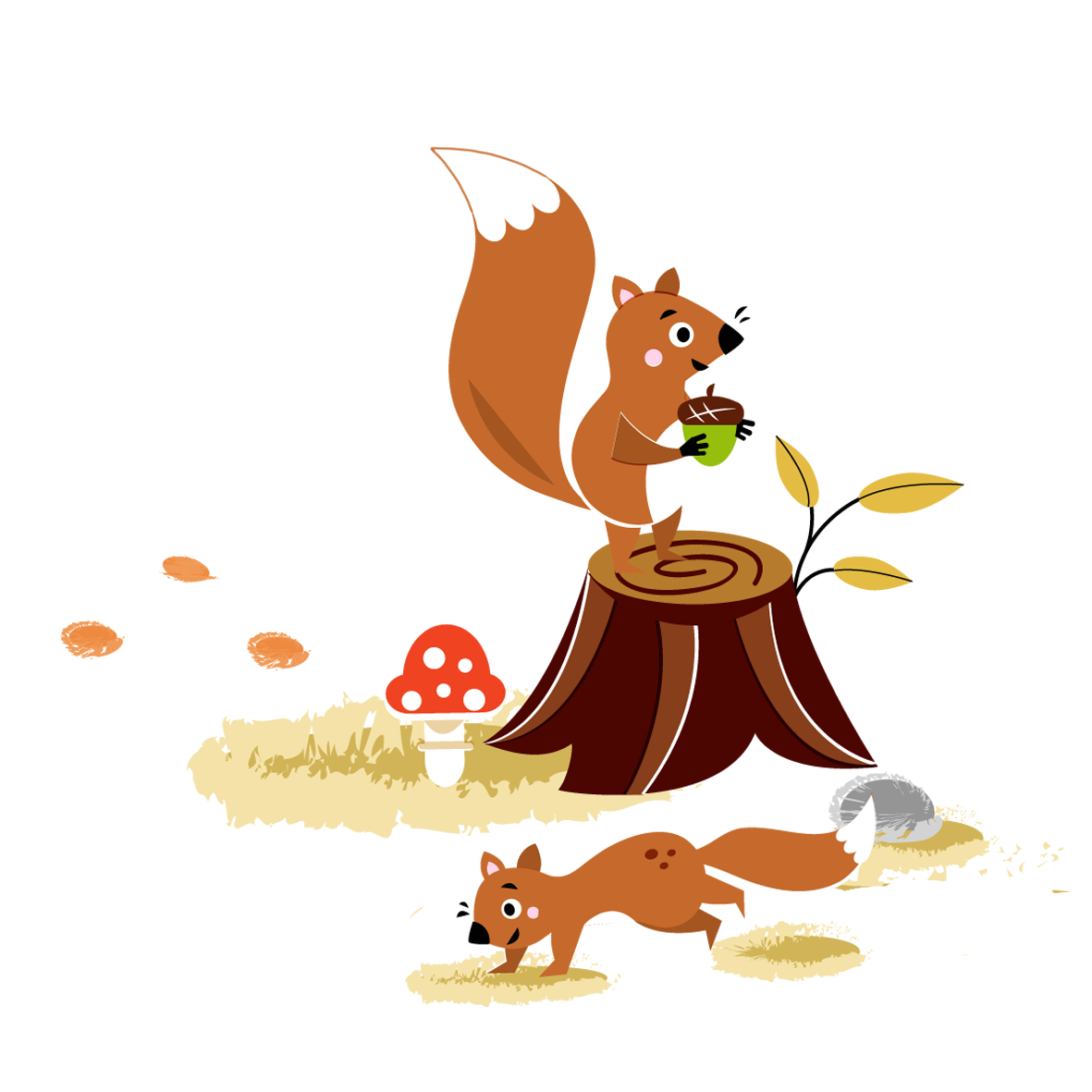 Squirrels in the woods - Vector Illustration © Emeline Barrea, All rights reserved