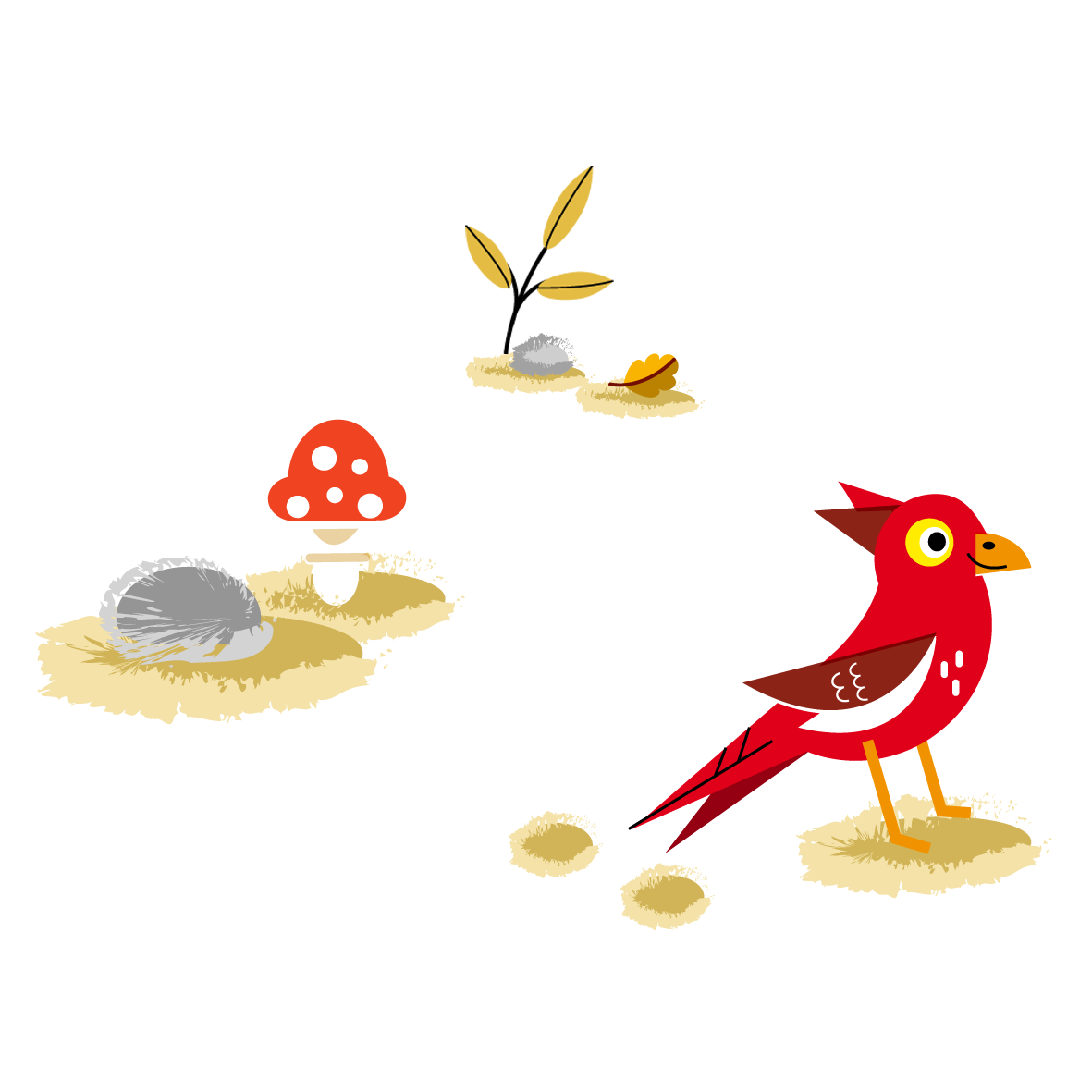 Birds in the woods - Vector Illustration © Emeline Barrea, All rights reserved