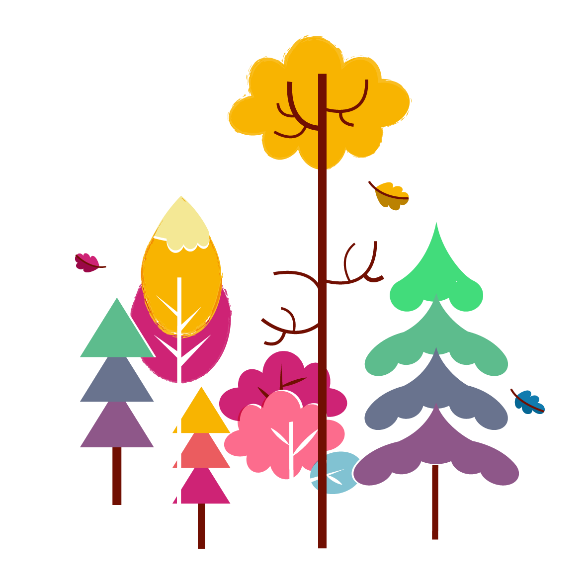 Colorful trees - Vector Illustration © Emeline Barrea, All rights reserved