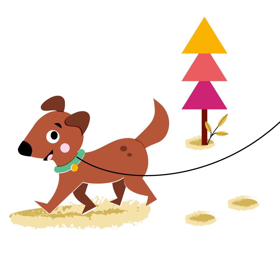 Walking puppy - Vector Illustration © Emeline Barrea, All rights reserved