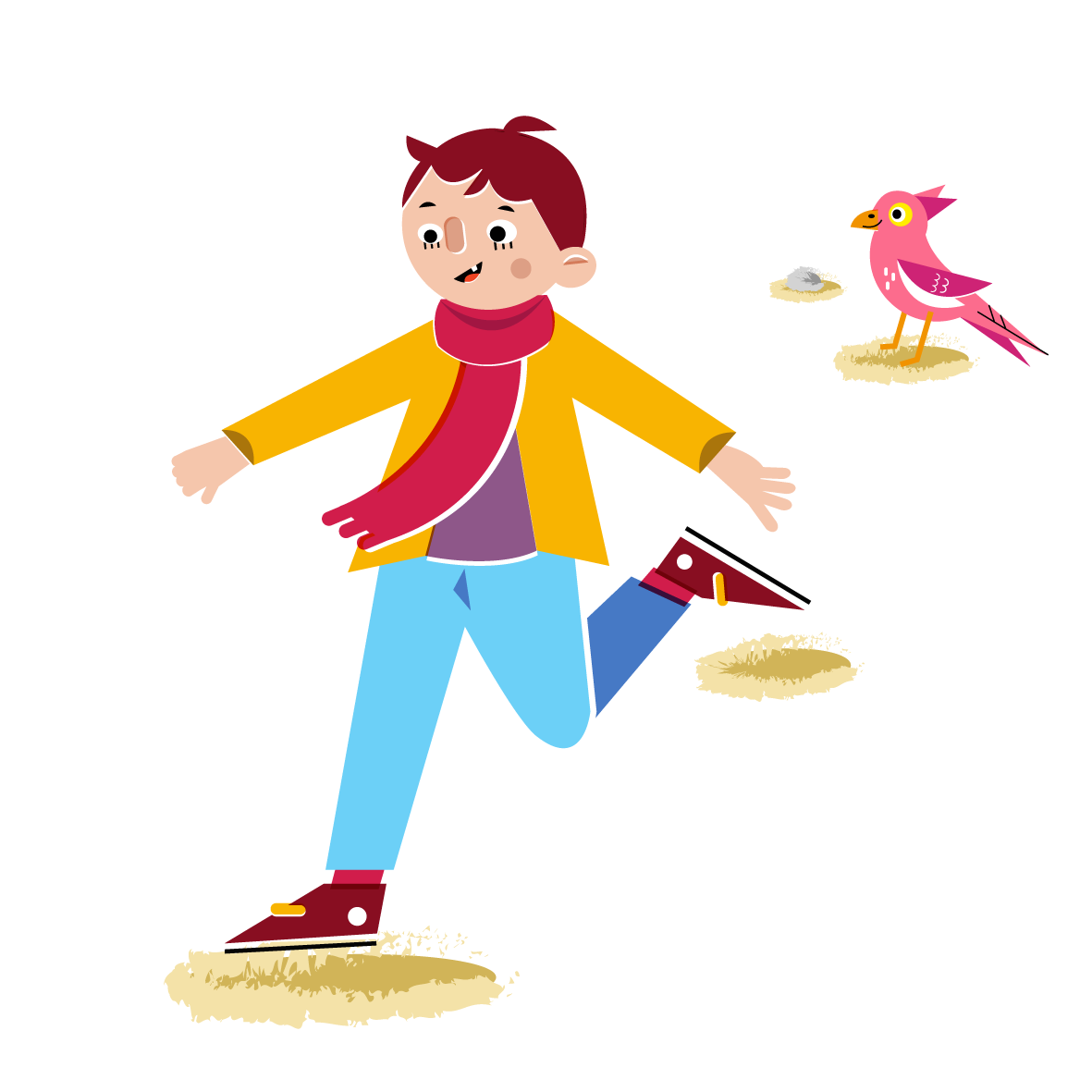 Boy playing - Vector Illustration © Emeline Barrea, All rights reserved