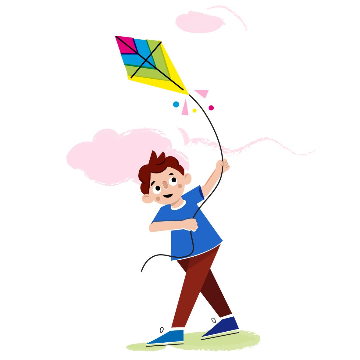 Flying kite - Vector Illustration © Emeline Barrea, All rights reserved