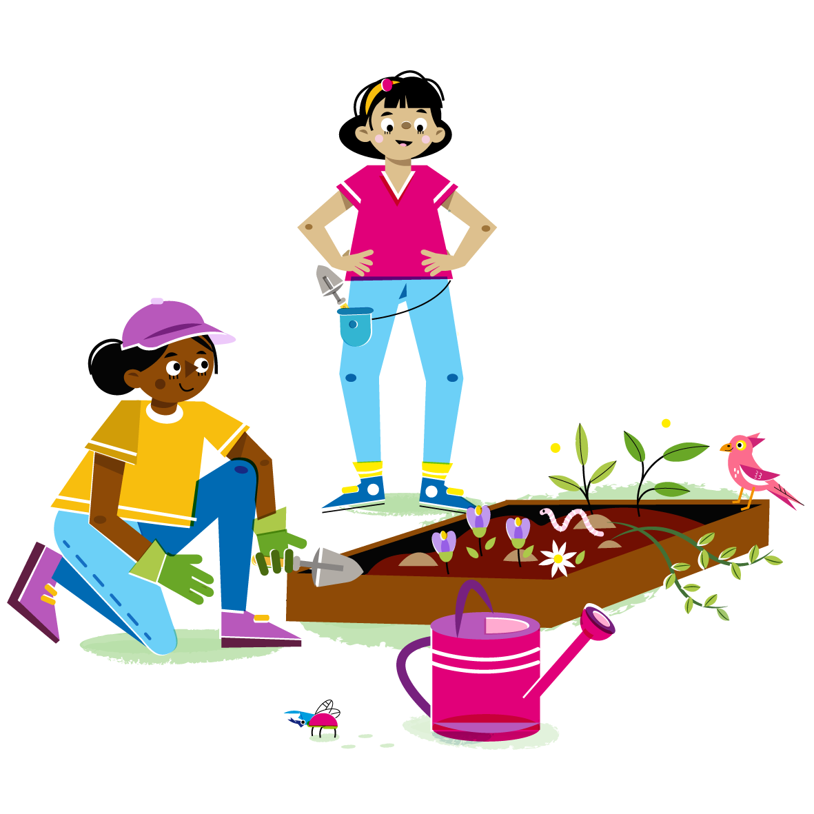 Gardeners - Vector Illustration © Emeline Barrea, All rights reserved