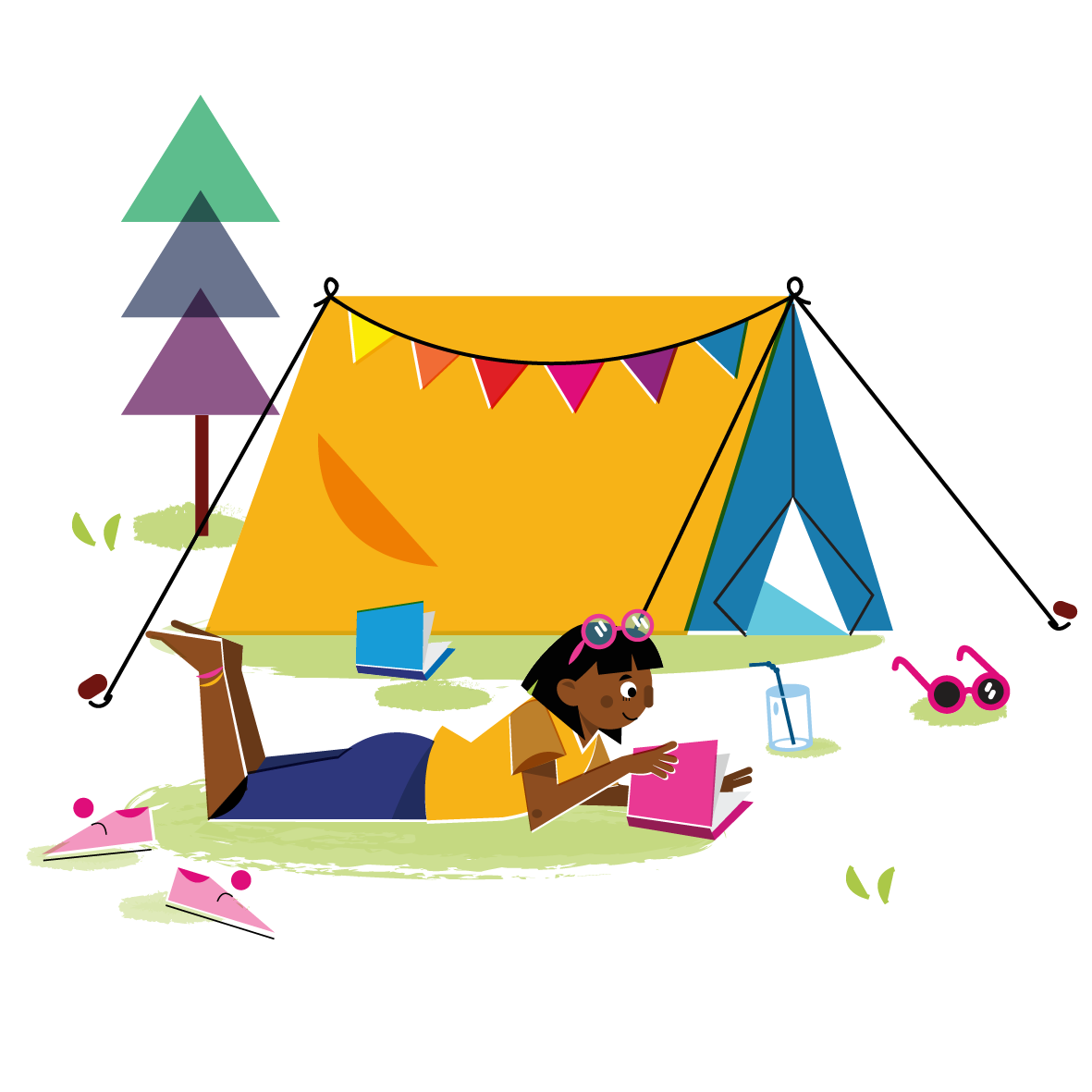 Camping girl - Vector Illustration © Emeline Barrea, All rights reserved
