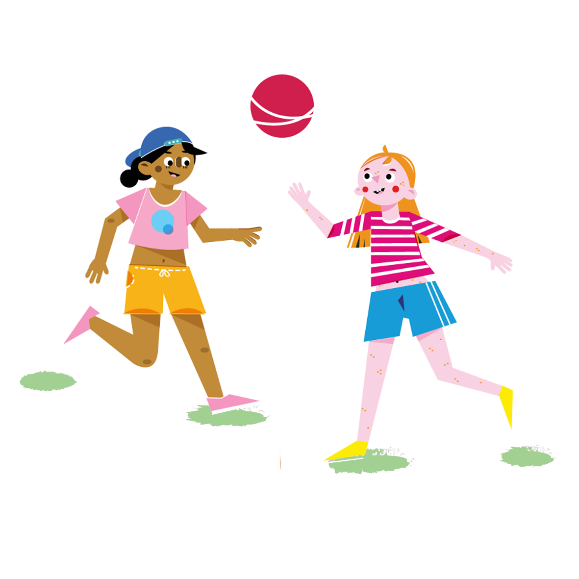 Girls playing - Vector Illustration © Emeline Barrea, All rights reserved