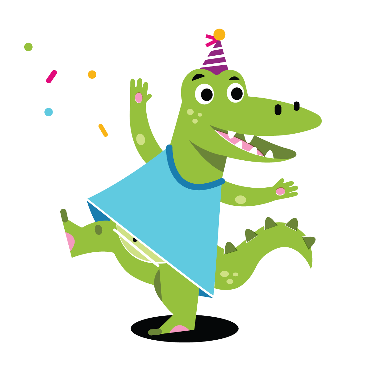 Partying Aligator - Vector Illustration © Emeline Barrea, All rights reserved