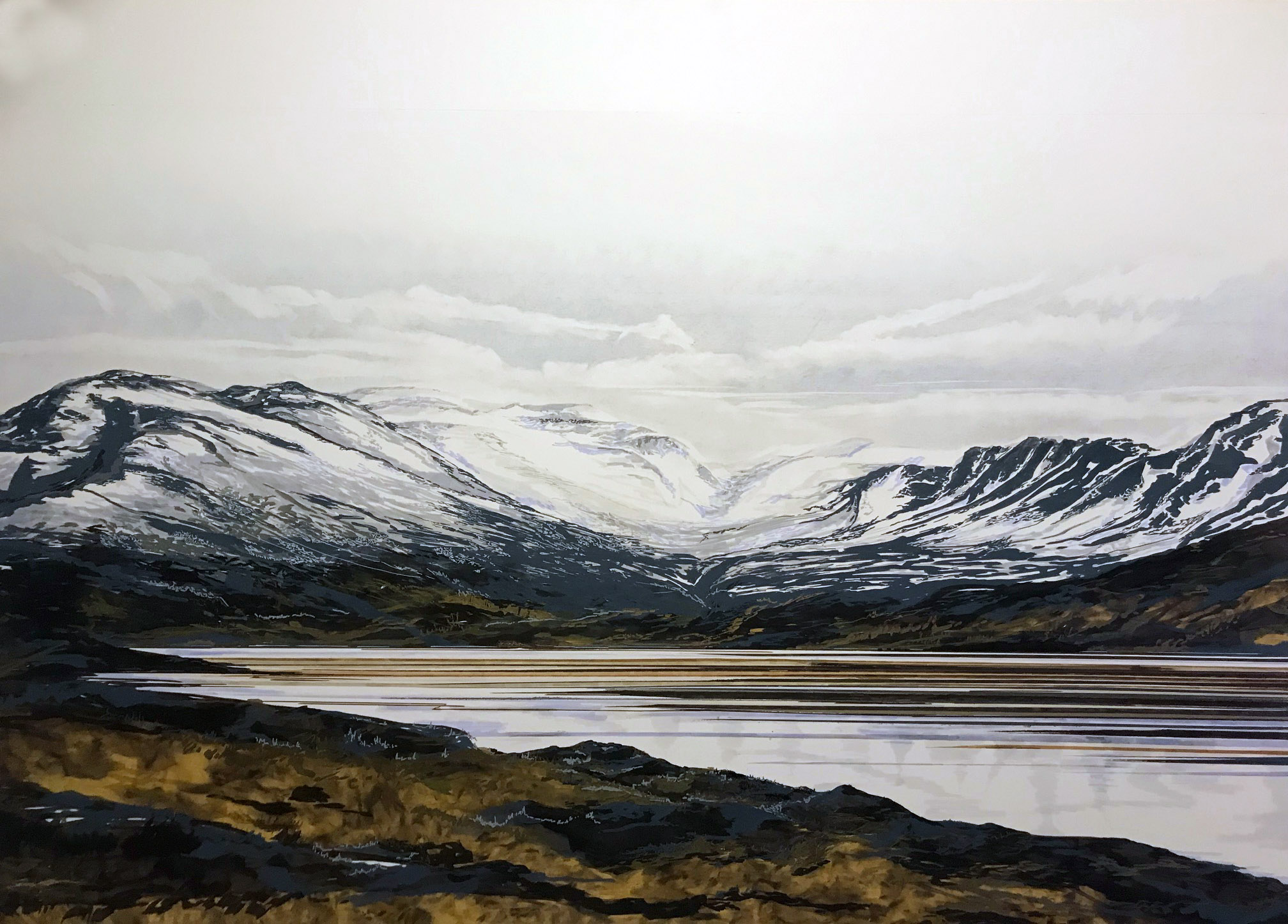 Loch Glascarnoch, Highlands, Scotland. 150cm x 100cm, Pen, Marker  Pastel AVAILABLE from  Art Pistol Gallery