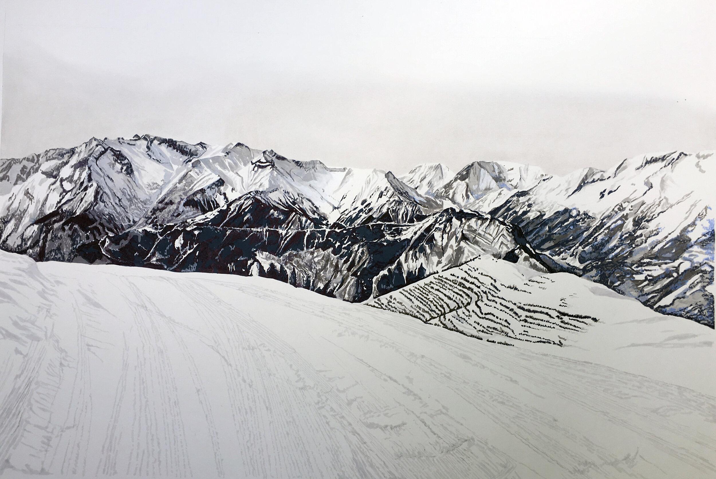 Alpe d'huez, France, 1m x 1.5m, Pen, Paint Marker & Pastel on Mountboard, £3200 - Sam Gare.jpg