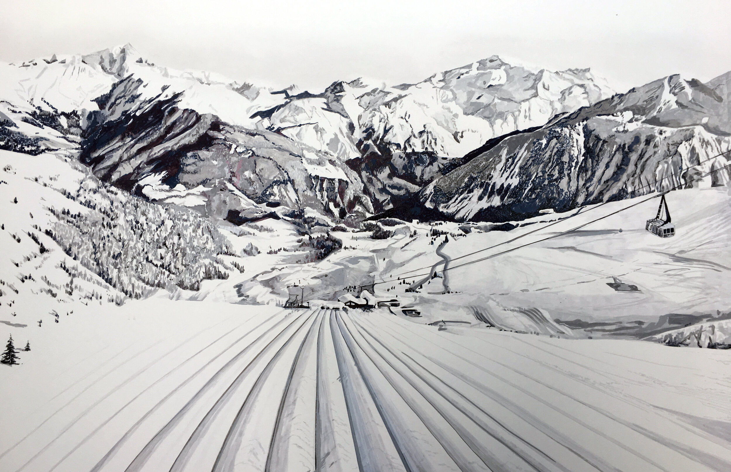 Courchevel, France, 1m x 1.5m, Pen, Paint Marker & Pastel on Mountboard, £3200.JPG