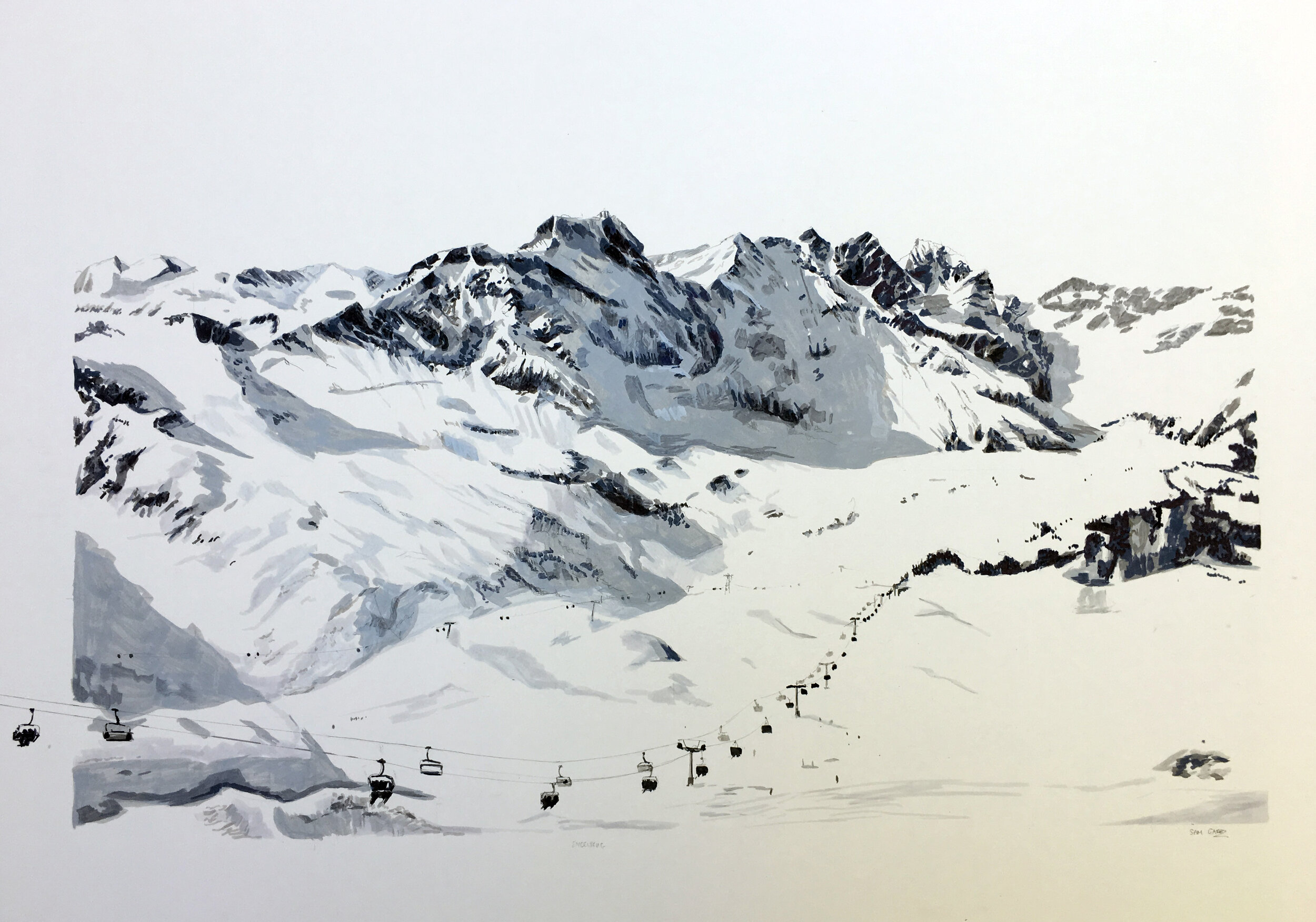 Engelberg Mount Titlis Switzerland, A1, Pen, Paint Marker & Pastel on Mountboard, £1200  Sam Gare.JPG