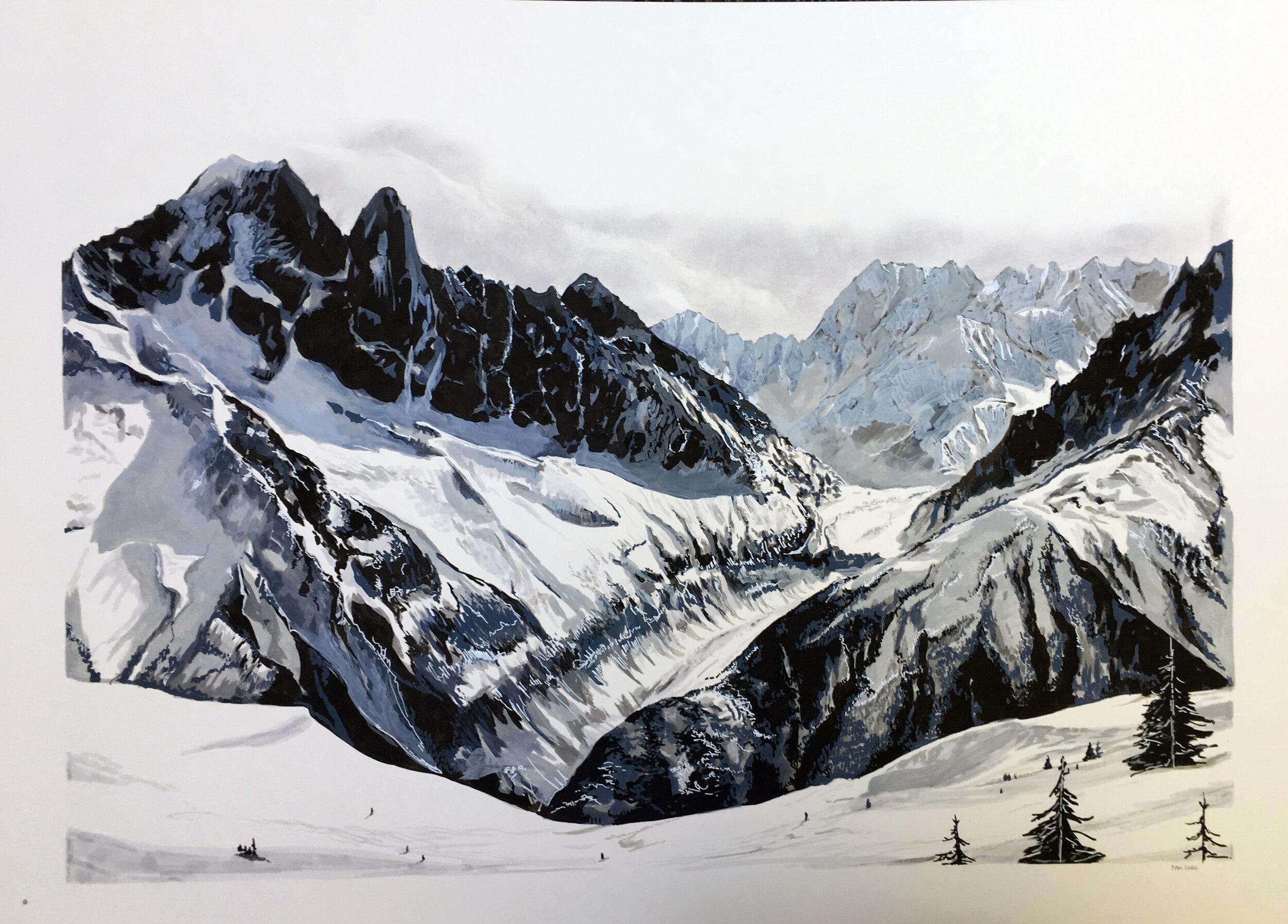 Mer de Glace Chamonix, France, Pen, Paint Marker & Pastel on Mountboard, £1200 A1 - Sam Gare.JPG